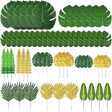 Auihiay Lot de 48 feuilles de palmier artificielles 11 sortes feuilles de jungle dor/ées avec tiges pour fausses feuilles tropicales D/écorations de f/ête hawa/ïenne pour f/ête pr/énatale ou anniversaire