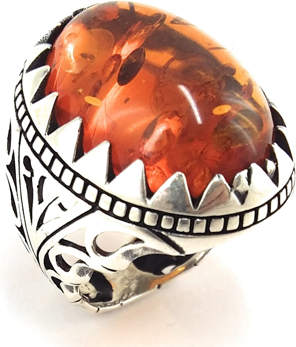 Turkish Handmade 925 Sterling Silver Amber Stone Scorpion Men/'s Ring All Sizes