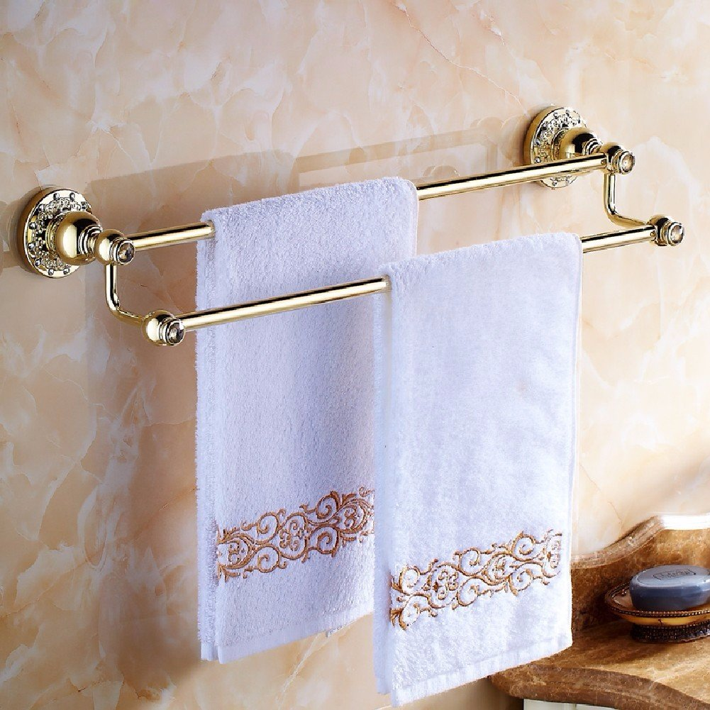 HQLCX Towel Bar, Full Copper Double Pole Towel Rod,B