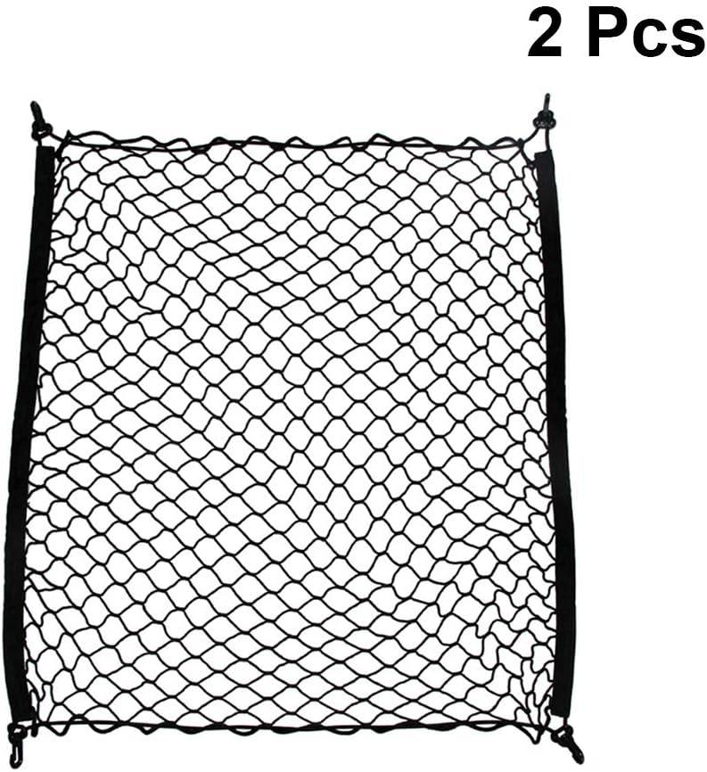 Vosarea Lot de 2 filets de rangement double couche en maille avec 4 crochets 70 x 70 cm