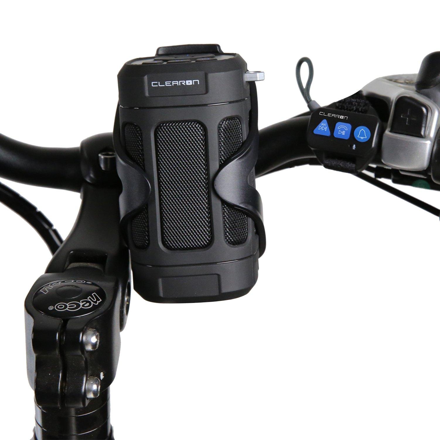 Portable Bluetooth Speaker by CLEARON, Wireless Waterproof Speaker with Bike Mount & Remote, Premium Sound Quality & Loud 8W Mini Speaker, 15 Hours of Playtime & 100 ft. Range (Black)
