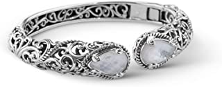 product image for Carolyn Pollack Sterling Silver Gemstone Hinged Cuff Bracelet Size S, M and L