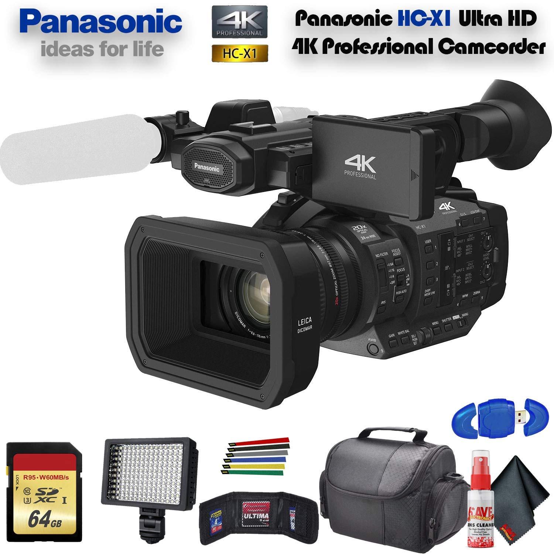 Panasonic HC-X1 Ultra HD 4K Professional Camcorder (HC-X1) with Padded Case, LED Light, 64GB Memory Card and More Base Bundle by Panasonic