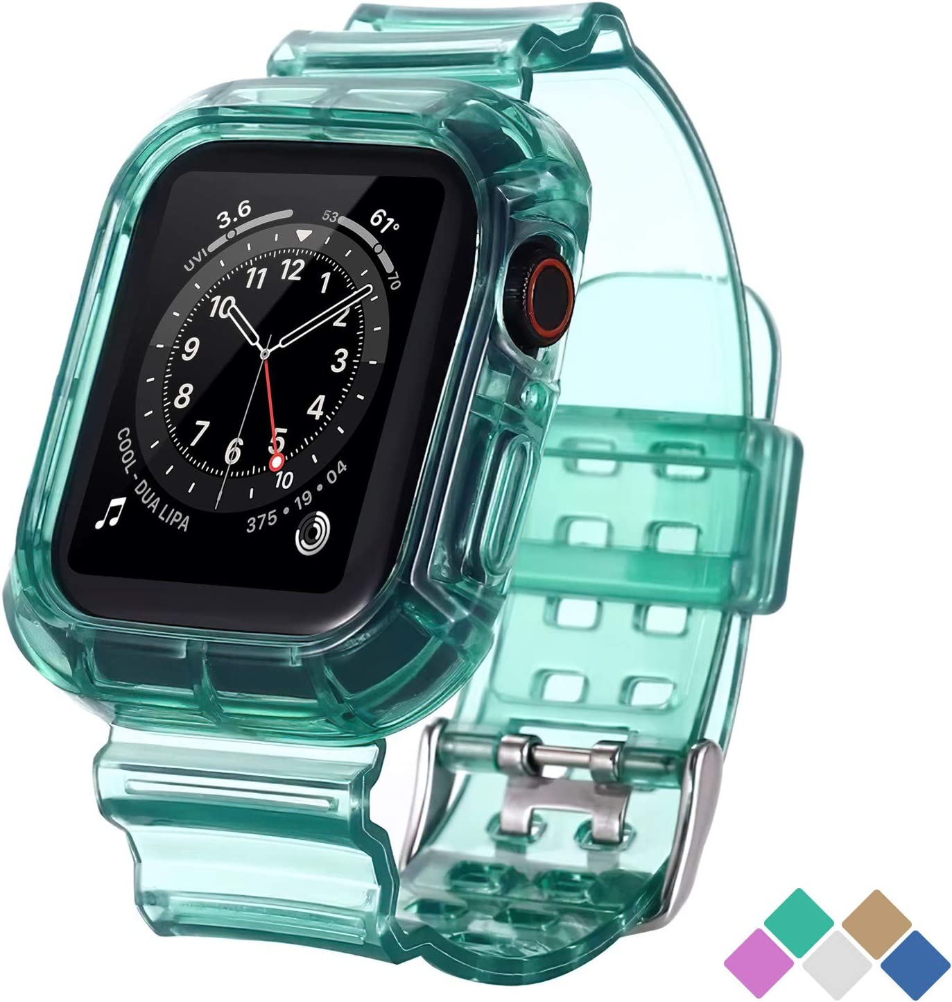 POHNUI Bands Compatible with Apple Watch Bands 38mm 40mm 42mm 44mm Women Men, Clear Band with Bumper Case, Soft Shockproof Band Strap for Apple iWatch Series SE/6/5/4/3/2/1(Green 38/40mm)