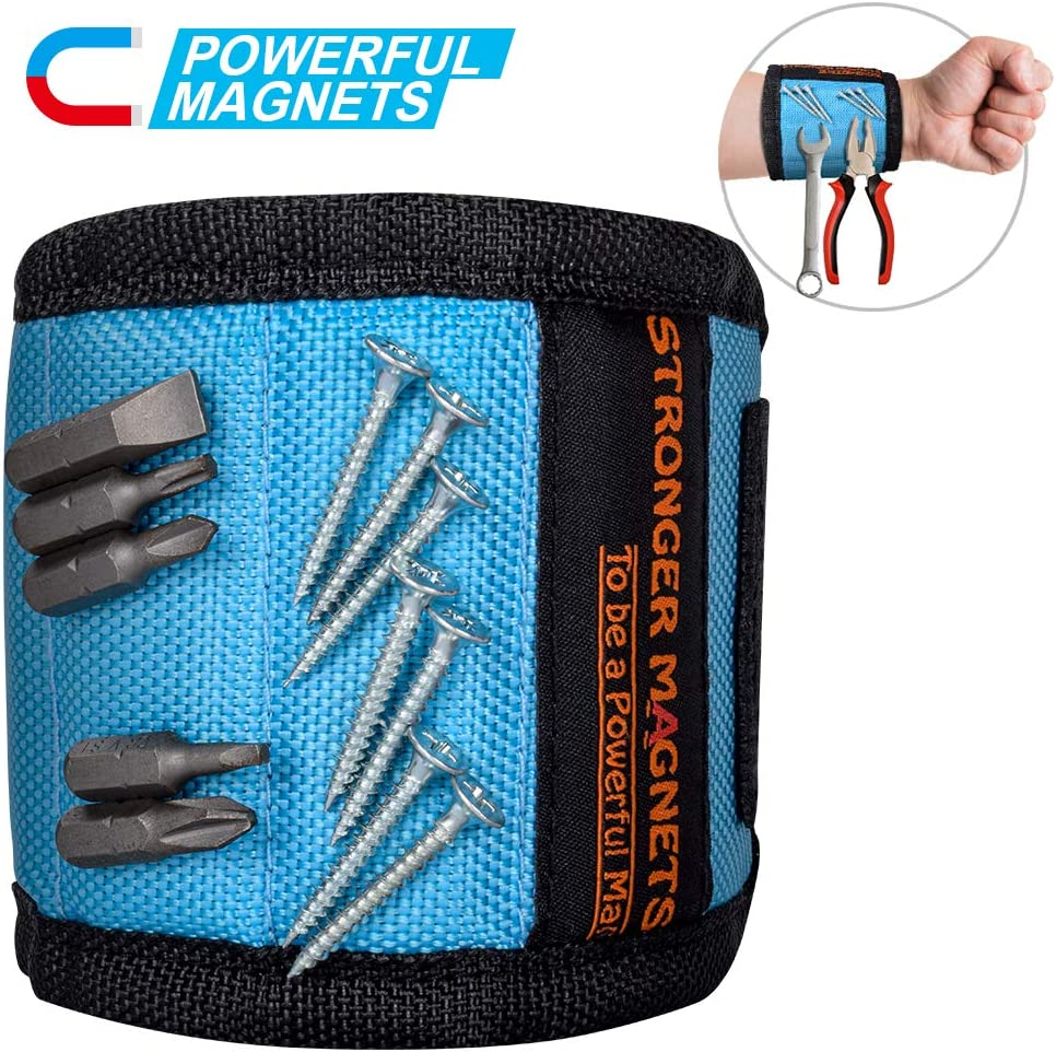 Magnetic Wristband,Mens Gifts Wrist Magnet,Magnetic Tool Belt Gift for Man,Upgrade Super Strong Magnets for Holding Screws, Tools, Nails, Drill Bits,DIY Handyman Gifts Idea for Dad, Husband,Boyfriend