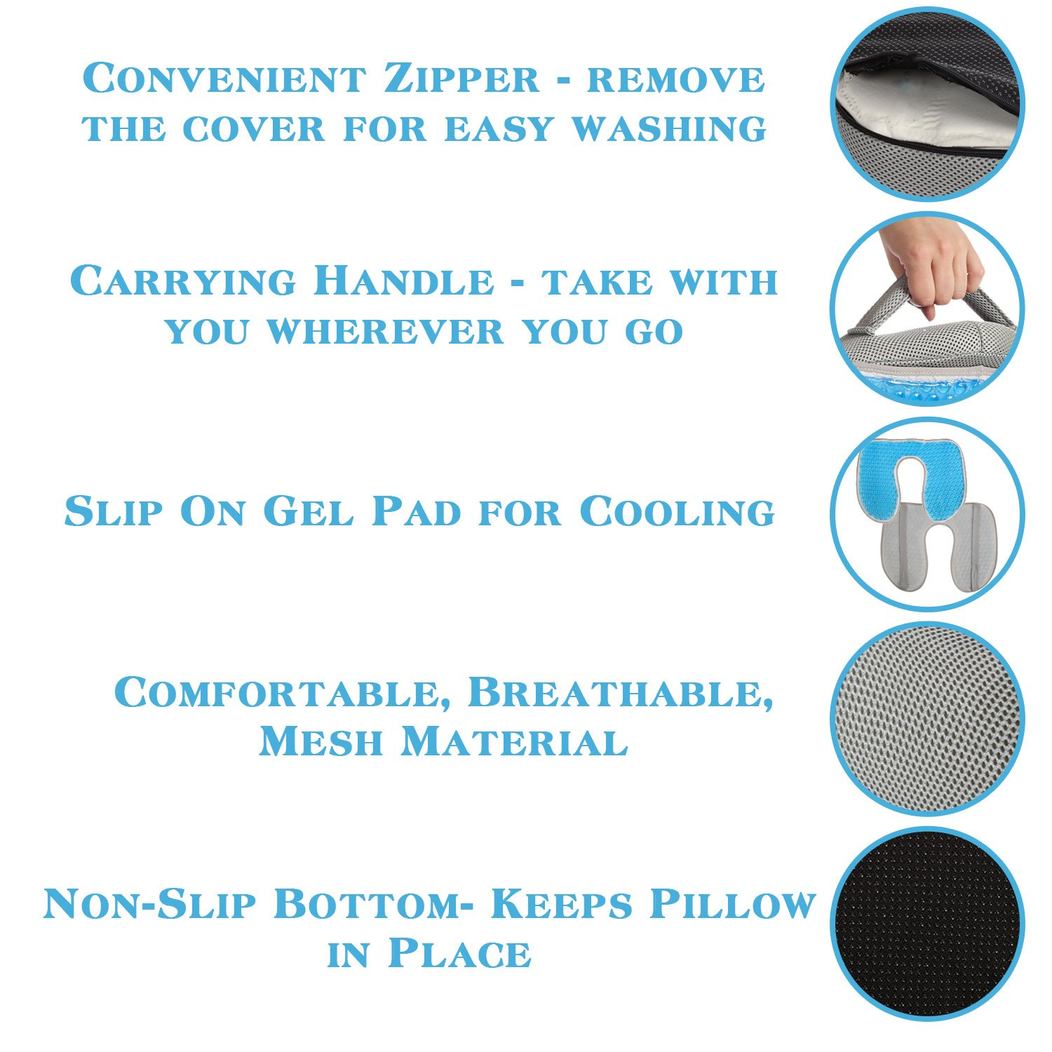 Ziraki Memory Foam Seat / Chair Cushion Orthopedic Coccyx Support Pillow 4 in 1 W/ Cooling Gel