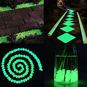ZXIN 500pcs Glow in The Dark Pebbles, Walkways Décor, Outside Bulk Glow in The Dark Rocks, Outdoor Fairy Garden, Glowing Stones for Driveway, Fish Tank Aquarium Glow Decorations Gravel Navy Blue