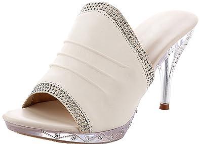 Calaier Femme Catxiy 8.3CM Cônique Glisser Sur Chaussons Chaussures, Noir, 38