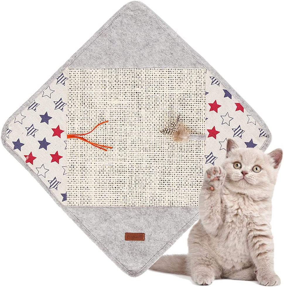 Foonee 22.8 X 22.8 Non-Slip Sisal Cat Scratching Mat Anti Cat Scratch Protector Pad Inner with Resounding Paper