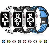 Ouwegaga Compatibel met Apple Watch Bandje 44mm 40mm 38mm 42mm, Siliconen Sport Polsband Vervangende Bandje Compatibel…