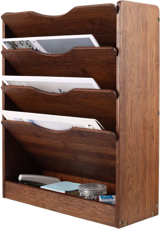 TQVAI Natural Bamboo Wall File Holder Organizer 5 Tier Hanging Magazine Rack Vertical Desktop Supplies Storage Upright - Retro Brown