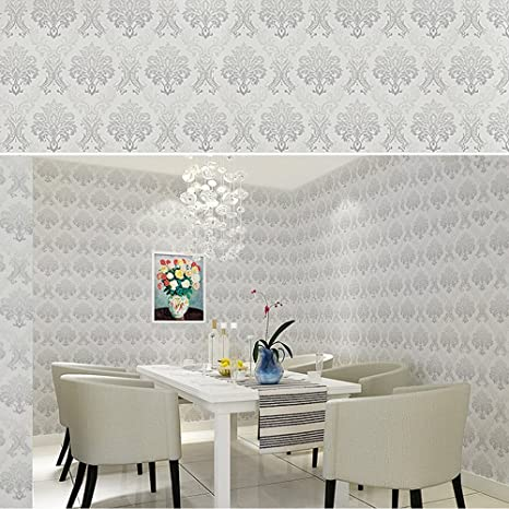Yifely Vintage Gray Damask Bedroom Removable Wallpaper For Walls Self Adhesive Wallpaper Roll Peel And Stick