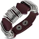 Zense - Bracelet homme ajustable en cuir véritable marron et brun avec anneaux en acier inoxydable ZR0225