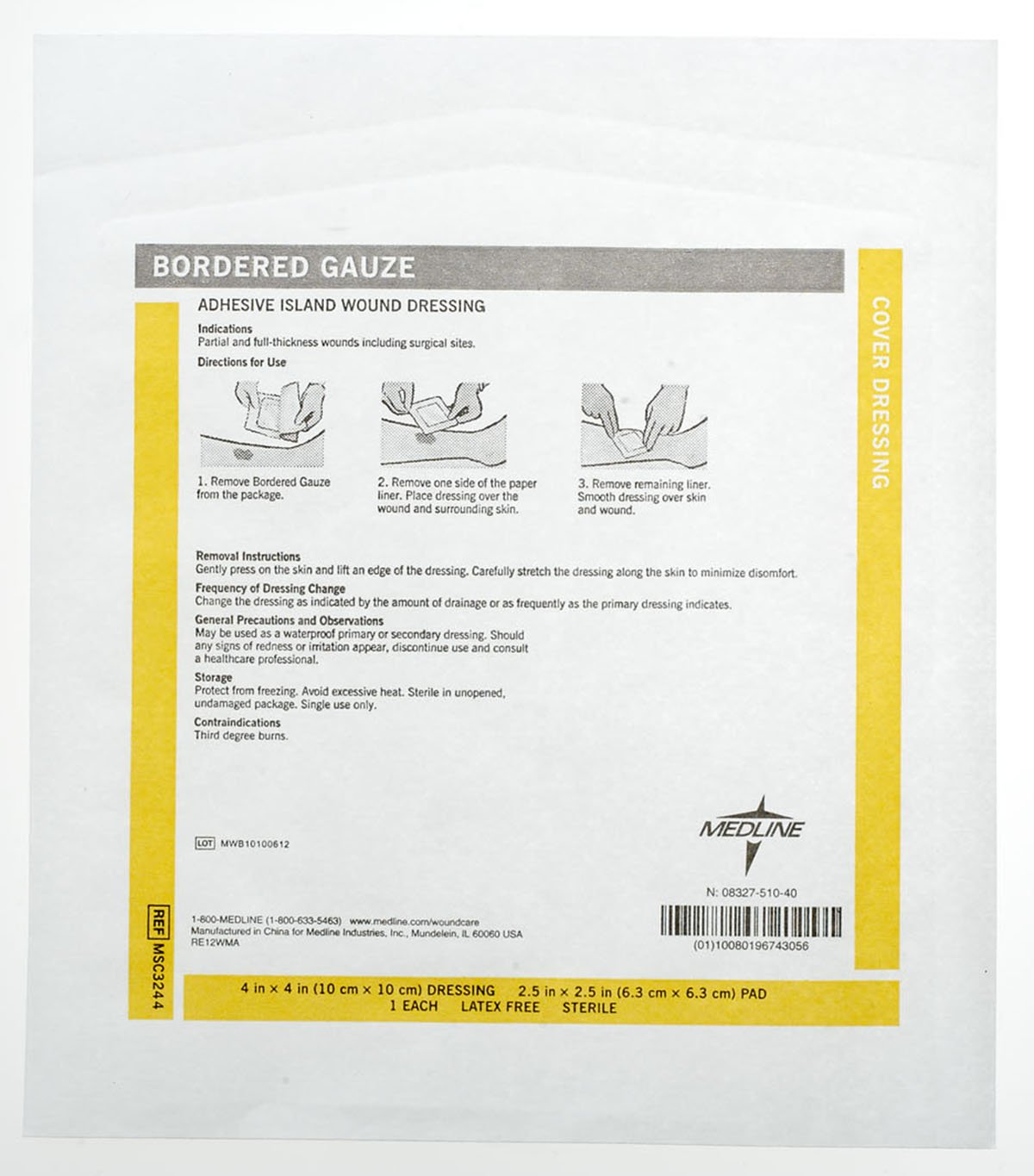 Medline Gauze Border Pad Sterile, 150 Count by Medline