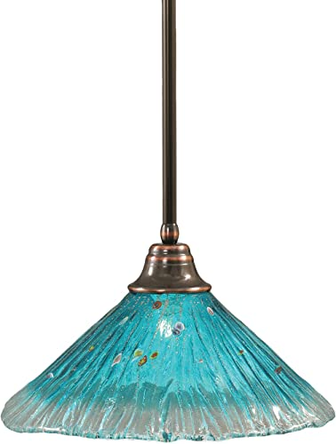 Toltec Lighting 26-BC-715 Stem Pendant Light Black Copper Finish with Teal Crystal Glass Shade, 16-Inch