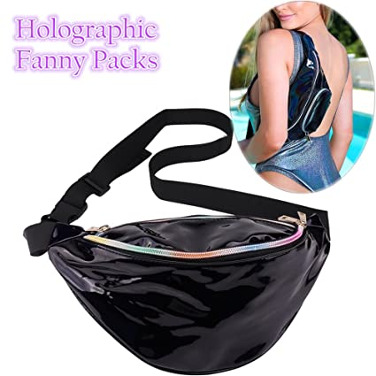 COSCOD Holographic Fanny Packs for Women - 80s Fanny Packs Fashion  Waterproof Shiny Waist Pack Adjustable Neon Bum Bag for Festival Party  Travel Hiking ... 02e649e52d