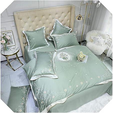 Juego de sábanas de algodón egipcio suave y sedoso con diseño de flores, color verde, rosa y amarillo, algodón, Color 1, King size 6Pcs: Amazon.es: Hogar