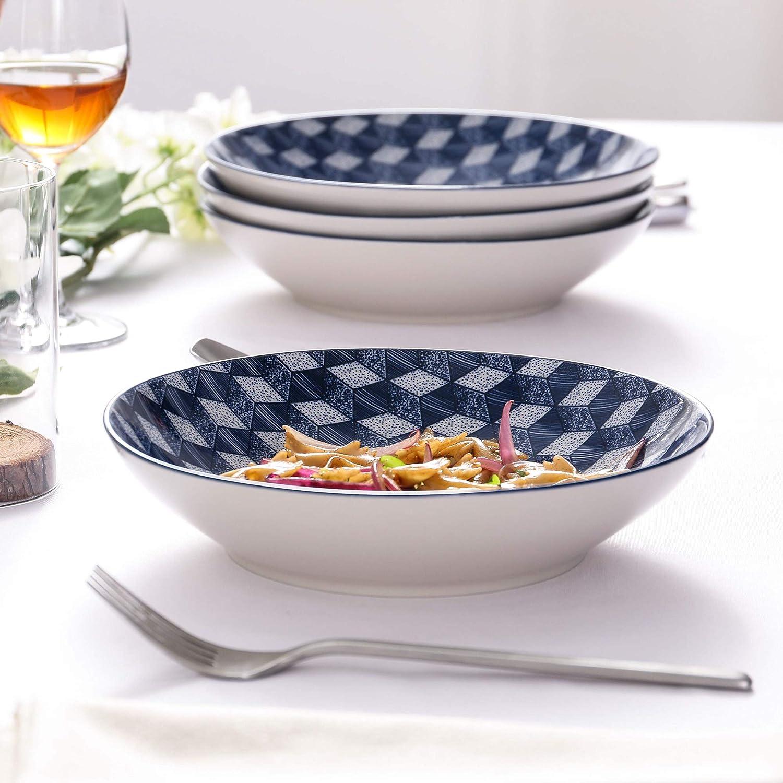 Platos para Sopa Vajillas de Porcelana Pintadas a Mano Estilo Japon/és vancasso Aichi Juego de Platos 4 Piezas Platos Hondos
