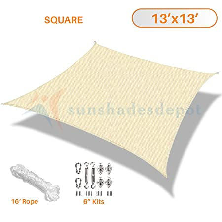 Sunshades Depot 13 x 13 Sun Shade Sail 180 GSM with 6 inch Hardware Kit Square Permeable Canopy Beige Custom Commercial Standard
