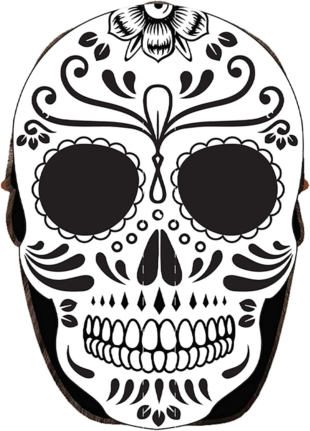 Black Hat and Mask in One White Day of The Dead Fan Mask Baseball Cap Accessory D/ía de Muertos