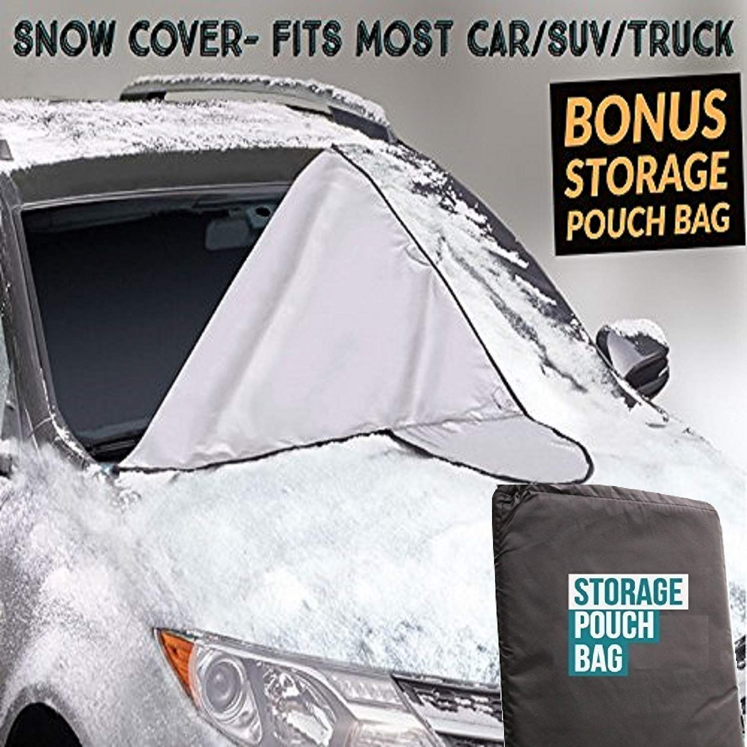EcoNour Premium All Season Car Windshield Snow/Sun Cover for Ice, Snow, Frost, Sun Guard for Winter and Summer-Fits Car, SUV,& Truck 6X Magnets to Keep Wind&Snow Out-Bonus Storage Bag