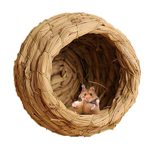 Woven Straw Bird Nest Cage For Parrot Budgie Cockatiel House Hatching  Breeding Cave,Also For