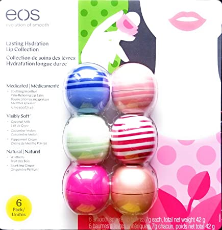 EOS Lip Balm 6 Pack – Wild-Berry Fruit, Sparkling Ginger, Coconut Milk, Cucumber Melon, Peppermint Scream, Smoothing Menthol