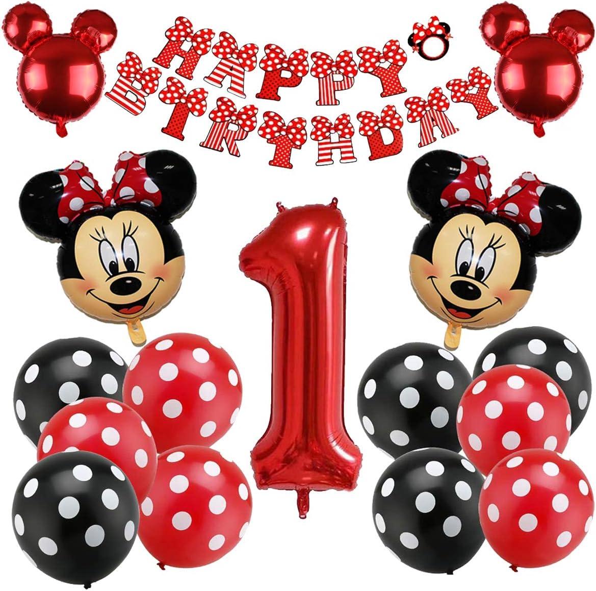 Mickey Party Globos, Decoraciones de cumpleaños de Mickey Mouse, Globos número para la Fiesta Temática de Mickey Mouse Artículos de Fiesta de Mickey y Minnie para Primer Cumpleaños