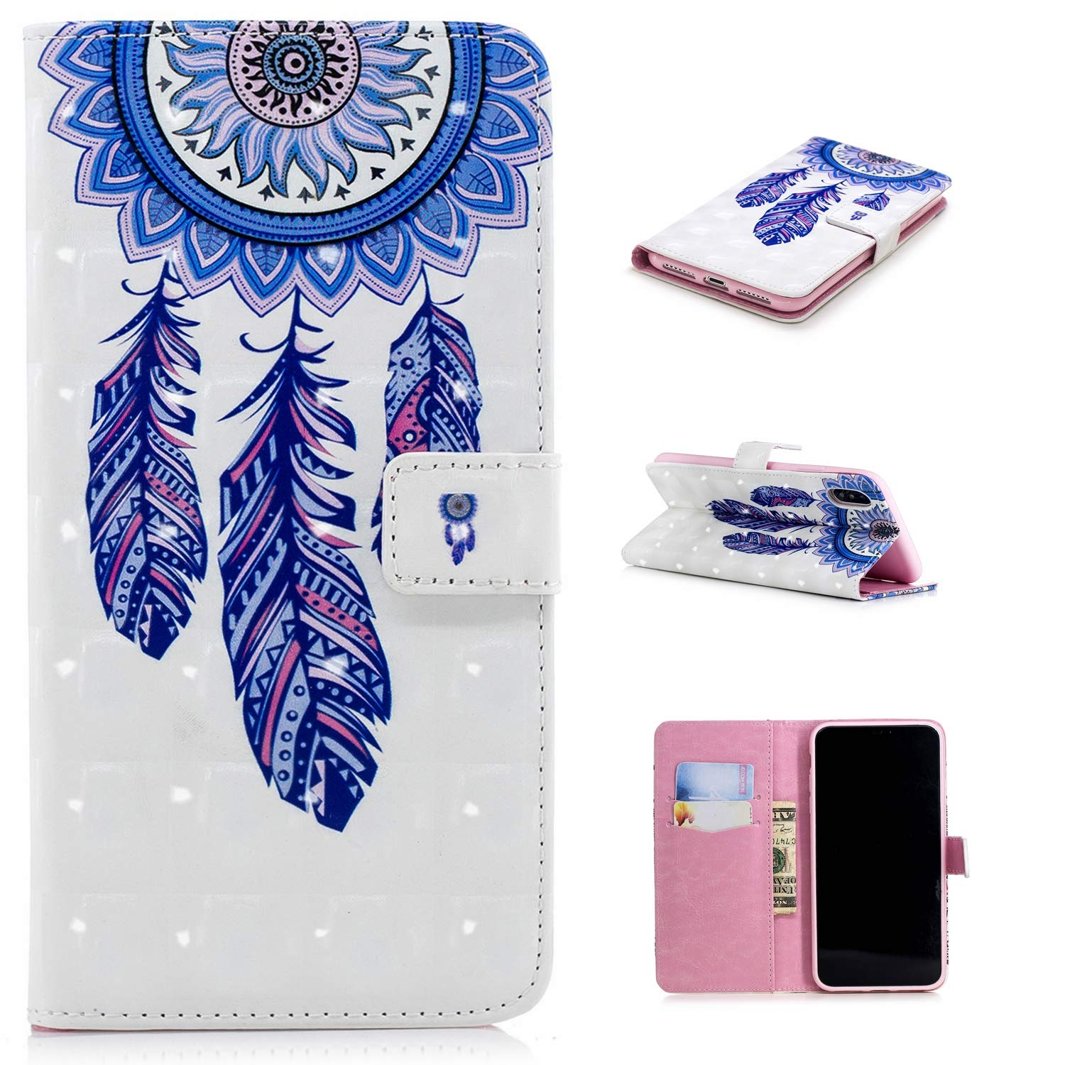 für Smartphone Apple iPhone X/iPhone XS Hülle, Leder Tasche für Apple iPhone X/iPhone XS (5.8 Zoll) 2018 Flip Cover Handyhülle Bookstyle mit Magnet Kartenfächer Standfunktion #11 (1) Laoke