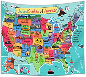 Kids Map of The United States Wall Tapestry, Cartoon Fun Facts Geography USA Map, Polyester Fabric Tapestry, 50 X 60