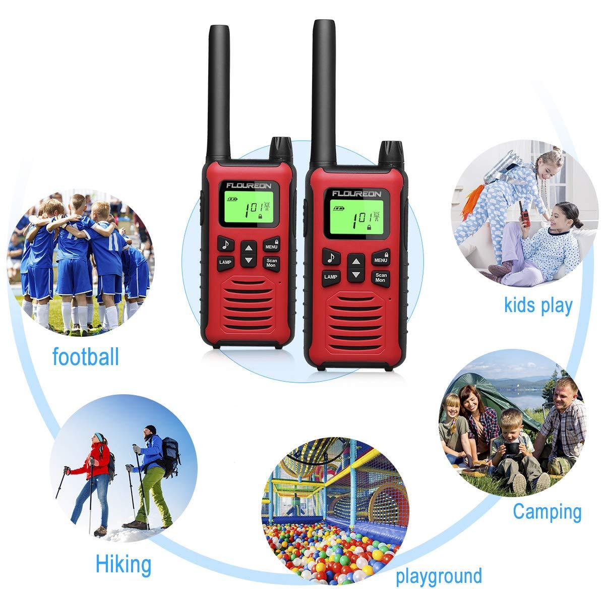 FLOUREON Walkie Talkies Kids Toy Interphone 2 Way Radio with LCD Display PMR 446MHZ Long Range Rechargeale for Field Survival Biking Hiking 1 Pair Red