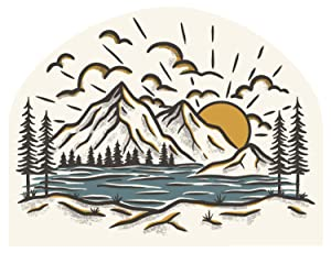 Sunrise Mountain Sticker - Camping Hiking & Nature Artwork - Sunshine Woods Lake Wilderness and National Park Waterproof Vinyl Decals for HydroFlask Water Bottle Laptop Car Bumper. Dishwasher Safe