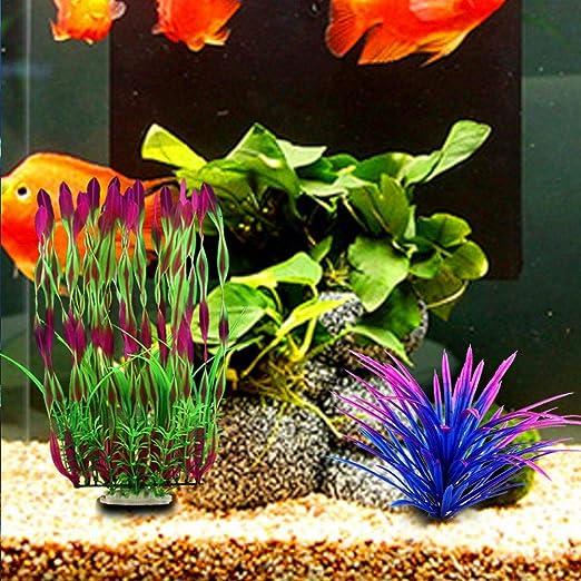 Gaeruite - Plantas artificiales acuáticas de 36 cm de altura, plantas de acuario, decoración de peces, plantas de acuario de simulación viva, criaturas de ...