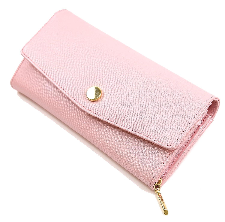 《 RESPIL 》 本革 長財布 シンプル 無地 大容量 お洒落 コーデ しやすい レディース 財布 ブランド B07F6HHXC5 ピンク ピンク