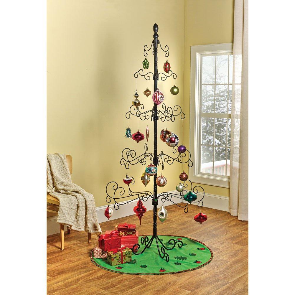 Wrought Iron Chirstmas Ornament Display Tree - 83''