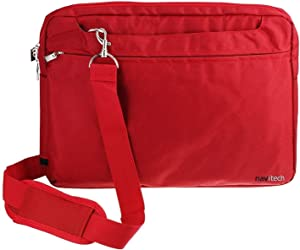 """Navitech Red Sleek Premium Water Resistant Laptop Bag - Compatible with The Acer Aspire 1 A114-32 14"""" Laptop"""