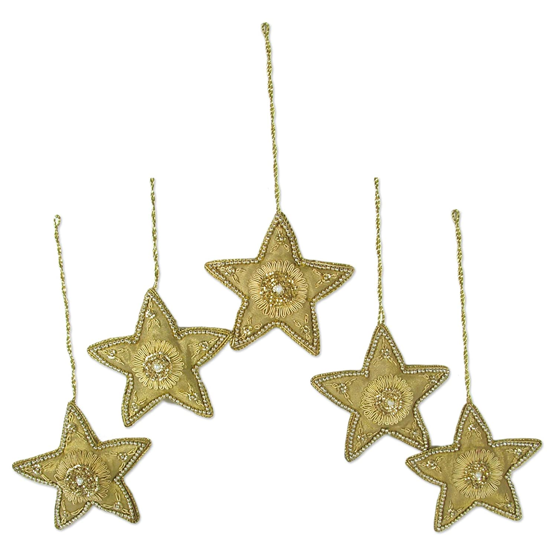 Novica Hand Beaded Christmas Holiday Ornaments Dazzling Golden Stars Set Of 5 Handmade In India