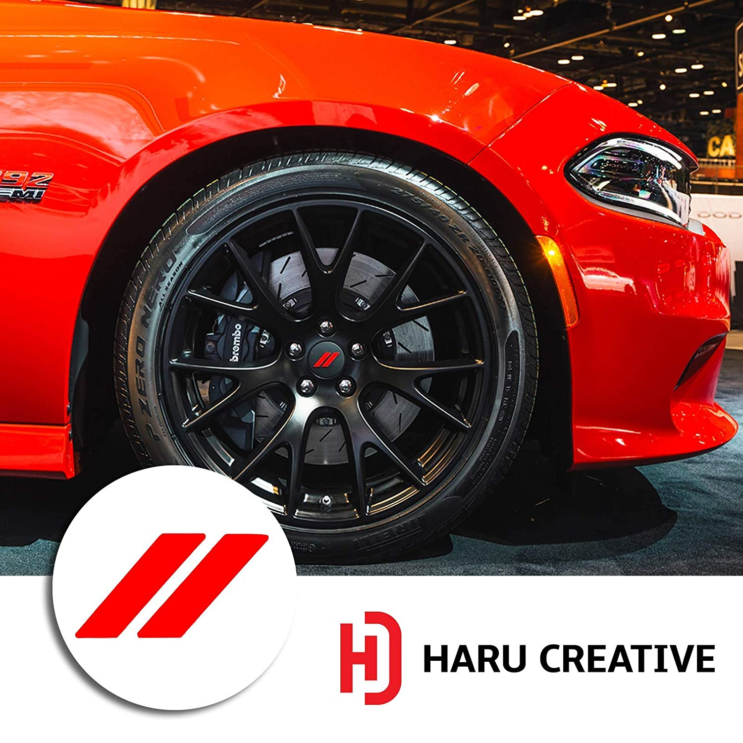 Haru Creative no Wheel caps Included Stripe Hash Rhombus Wheel Center Cap Overlay Vinyl Decal Sticker Fits Dodge Charger and Challenger 2017 2018 - Metallic Matte Chrome Red