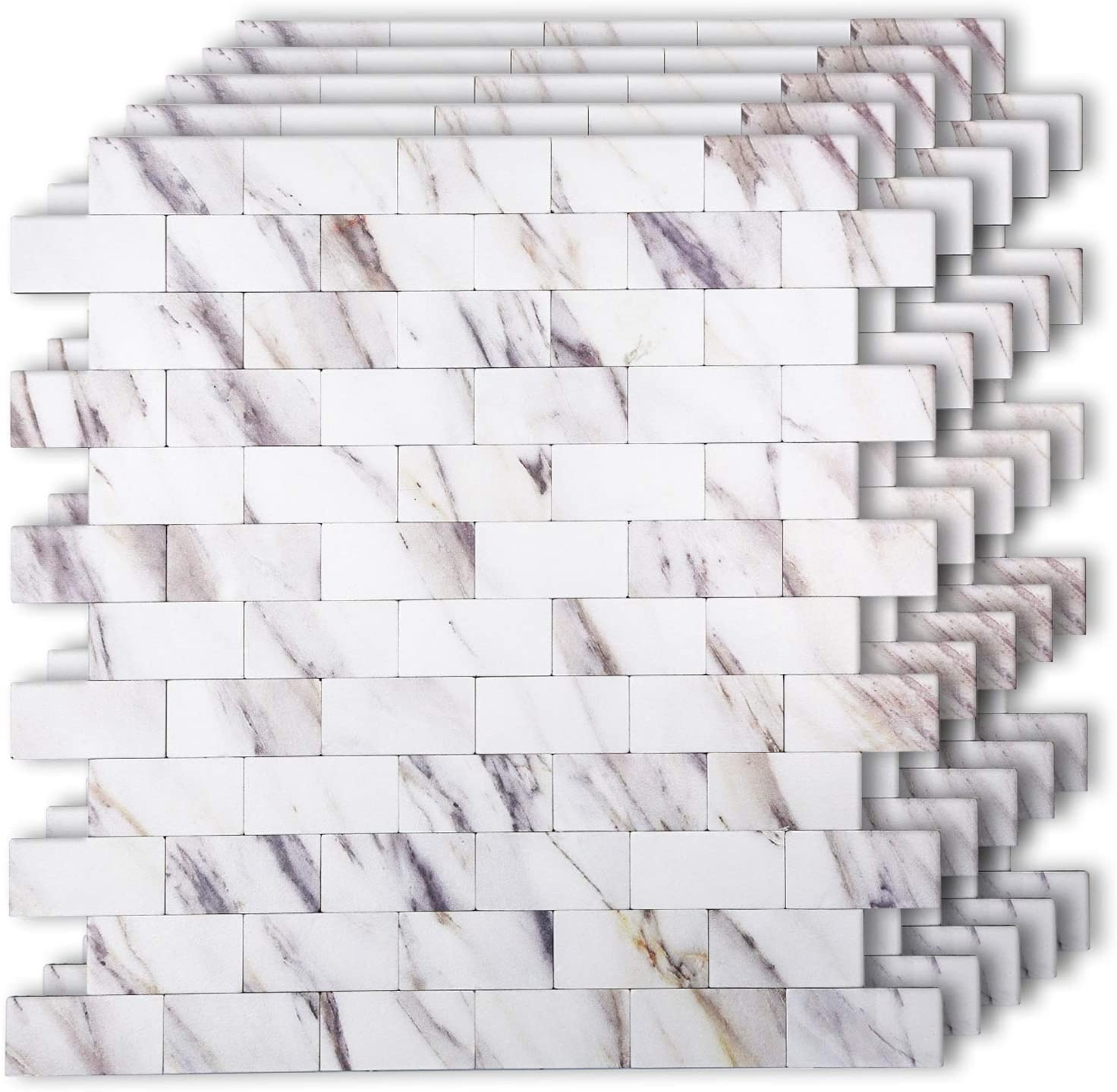 HomeyMosaic Peel and Stick Tile Backsplash for Kitchen Wall Decor Metal Mosaic Smart Tiles Aluminum Surface,Subway Marble Look Panel(12