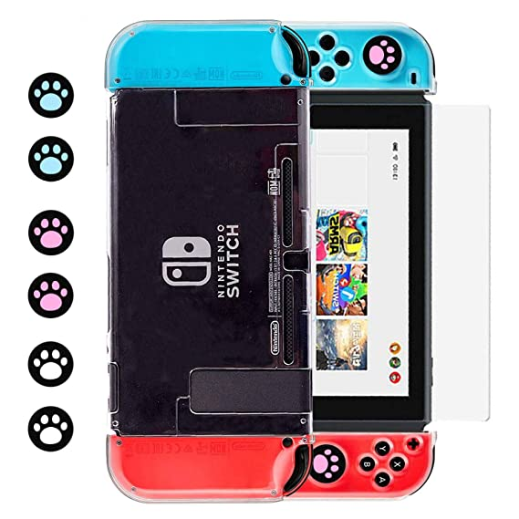 the best attitude 0ecf3 1c419 Dockable Clear Case for Nintendo Switch, BRHE Protective Crystal Cover Case  Accessories Kit for Joy-Con Controller Shell with Tempered Glass Screen ...