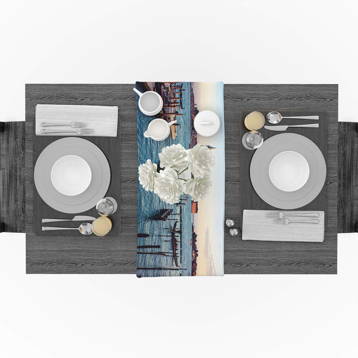 Amazon com: Cotton Linen Table Runner for Party, Wharf