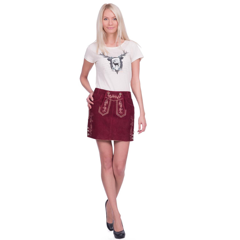 Damen Trachten Lederrock aus Ziegenveloursleder in bordeauxrot Größe 34 bis 46 verfügbar