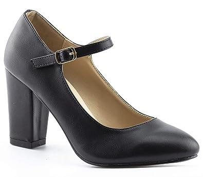 ee9bb0f79d6 CALICO KIKI SALLIE-CK01 Women s Mary Jane Pumps - Buckled Closed Toe Chunky  Heel -