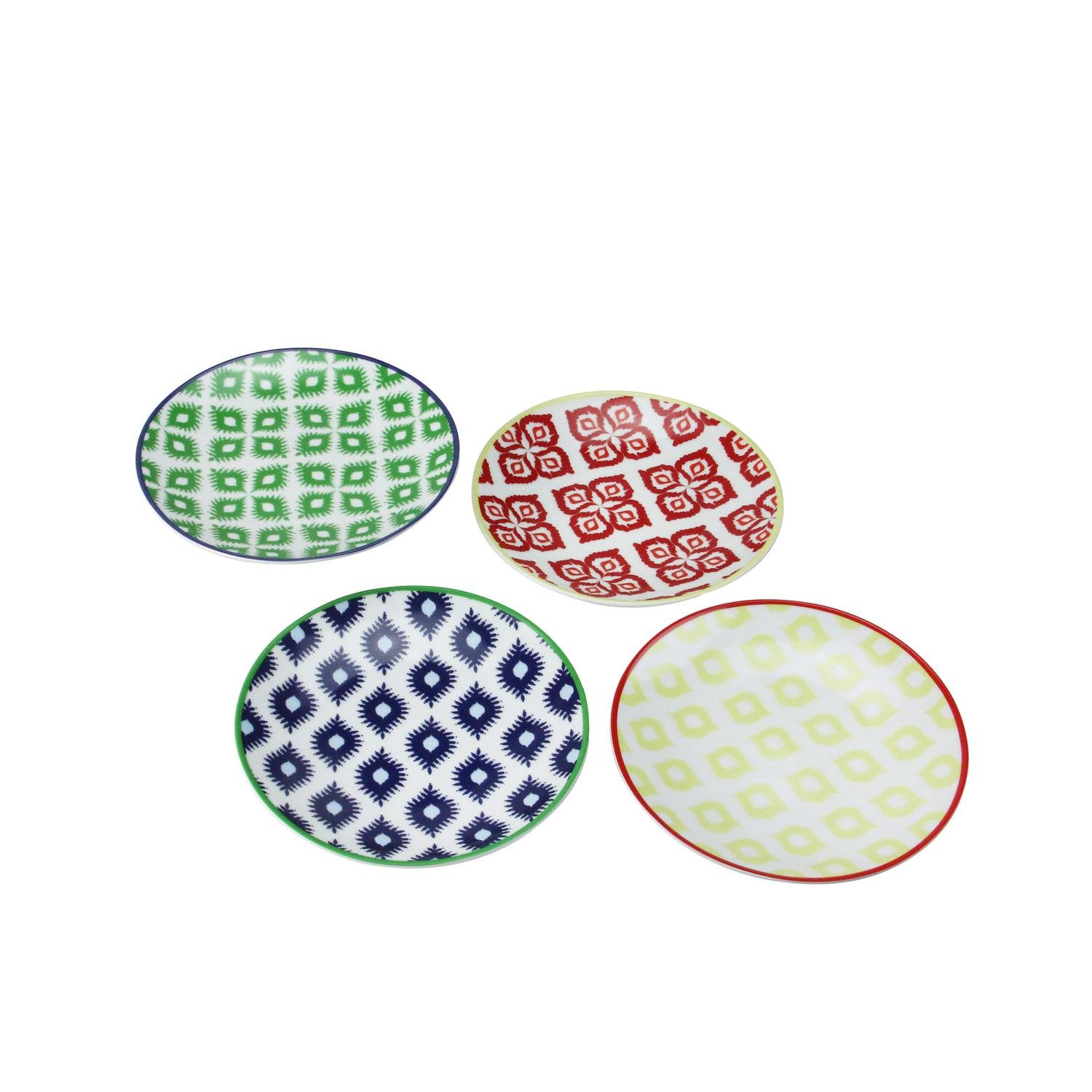 Set of 4 Colorful Belize Porcelain Appetizer Plates with Gift Box Paperproducts Design