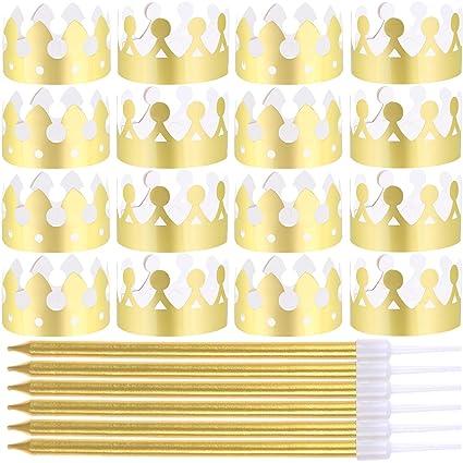 Amazon.com: LOCOLO 24 Piezas Coronas de Papel Oro para ...