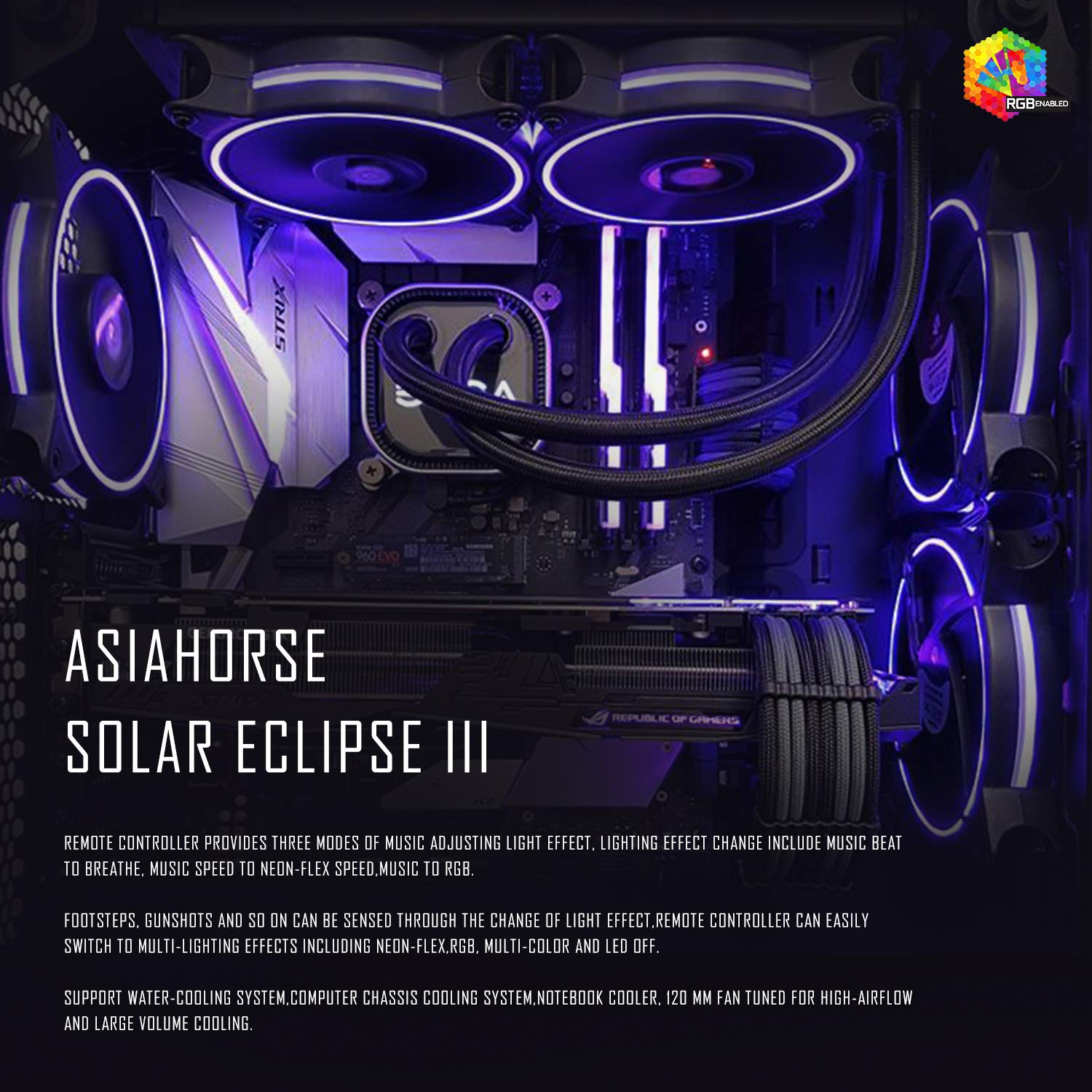 Asiahorse Solar ECLIPSEIII-120mm Three Light Loop RGB Interactive Music Cooling Fan with 3nd gen RF Remote Controller for PC Case,Water Cooling Radiators System(6 Pack) by ASIAHORSE (Image #3)