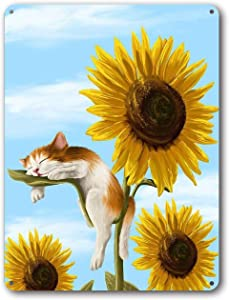 Goutoports Vintage Sunflower Tin Signs Sleeping Cat Farmhouse Home Wall Decor Metal Signs 7.9x11.8 Inch
