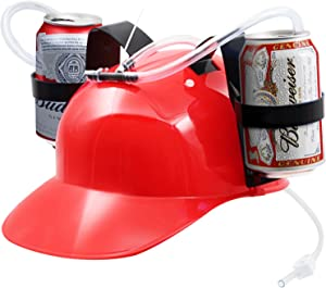 Novelty Place Guzzler Drinking Helmet - Can Holder Drinker Hat Cap with Straw for Beer and Soda - Party Fun - Red