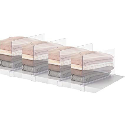 PengKe 4 Piece Multifunction Acrylic Shelf Dividers, Closets Shelf And Closet  Separator For Wood Closet