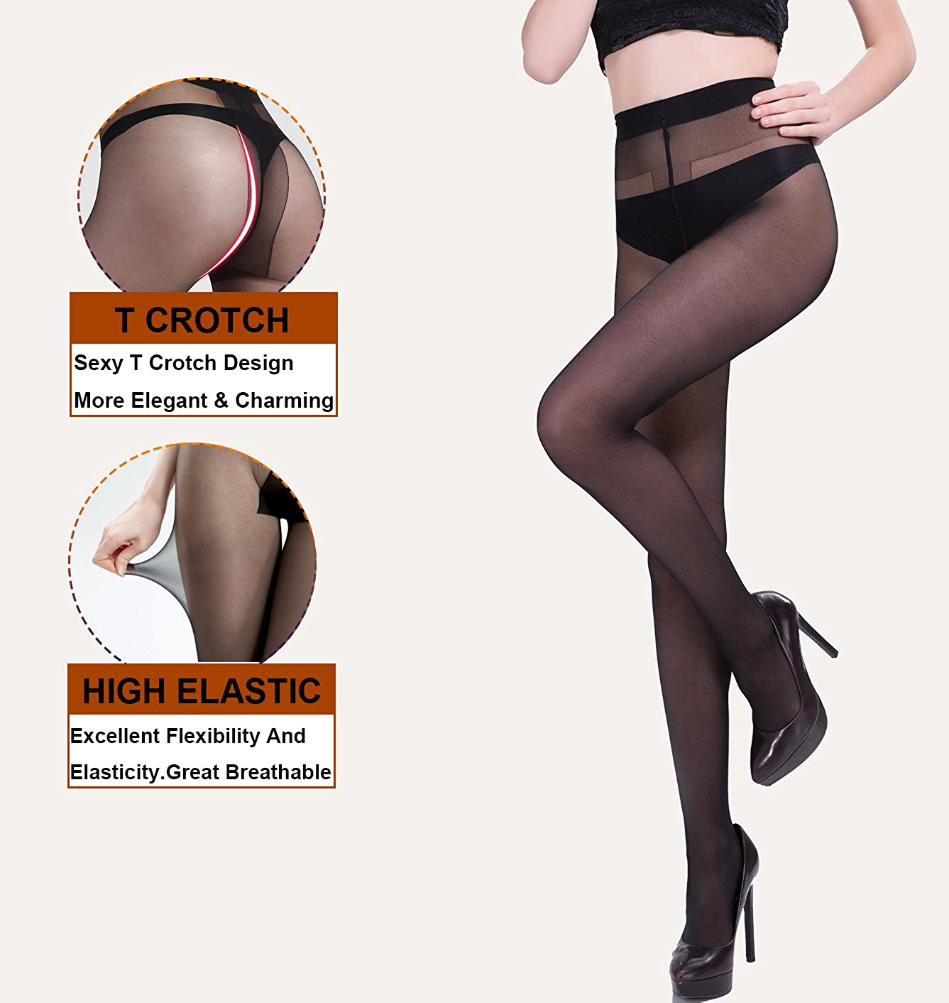 18b075af6 MERYLURE 2 Pairs Semi Sheer Pantyhose Sexy T Crotch Control Top Tights  Hosiery at Amazon Women s Clothing store